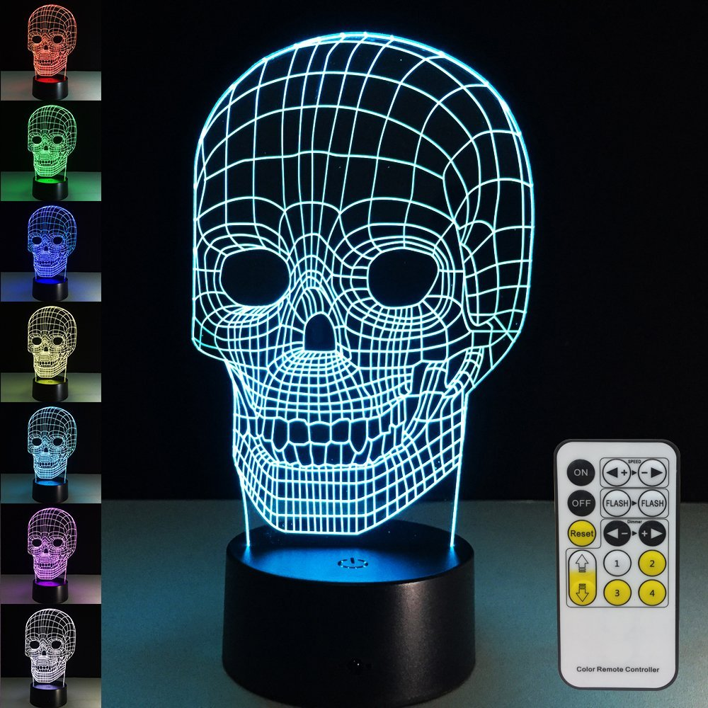 Skull Lamp with Remote Controller LED Touch 7 Colors Changing Table Desk Lamp Optical Illusion Light Party Home Decorations