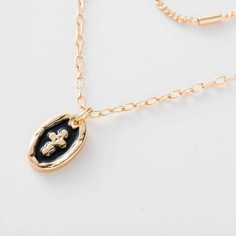 Wilden & Freies Kreuz Layered Halskette Frauen Zwei Schichten Gold Farbe Kette Colliers Runde Anhänger Halskette Kragen Schmuck