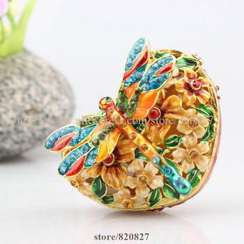 Floral and Dragonfly Handmade Jeweled Trinket Box And Flower Heart Metal Jewelry