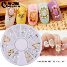 MANZILIN 24pcs/set Gold Silver 3d Hollow Metal Frame Nail Art Studs Nail Decoration Wheel(China)