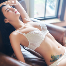 Shaonvmeiwu new 2018 Ultra-thin beige white translucent embroidery bra set lace lingerie sexy temptation deep V
