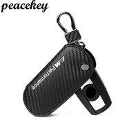 Peacekey Vera Pelle Portachiavi Caso Della Copertura Per Bmw E90 F30 F34 F10 E70 E71 X1 X3 X4 X5 X6 1 2 3 4 5 6 7 Serie In Fibra di Carbonio