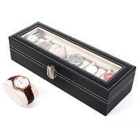 Black 6 Slots Leather Storage Collection Organizer Boxes Holder Glass Top Case Watch Box Jewelry Display