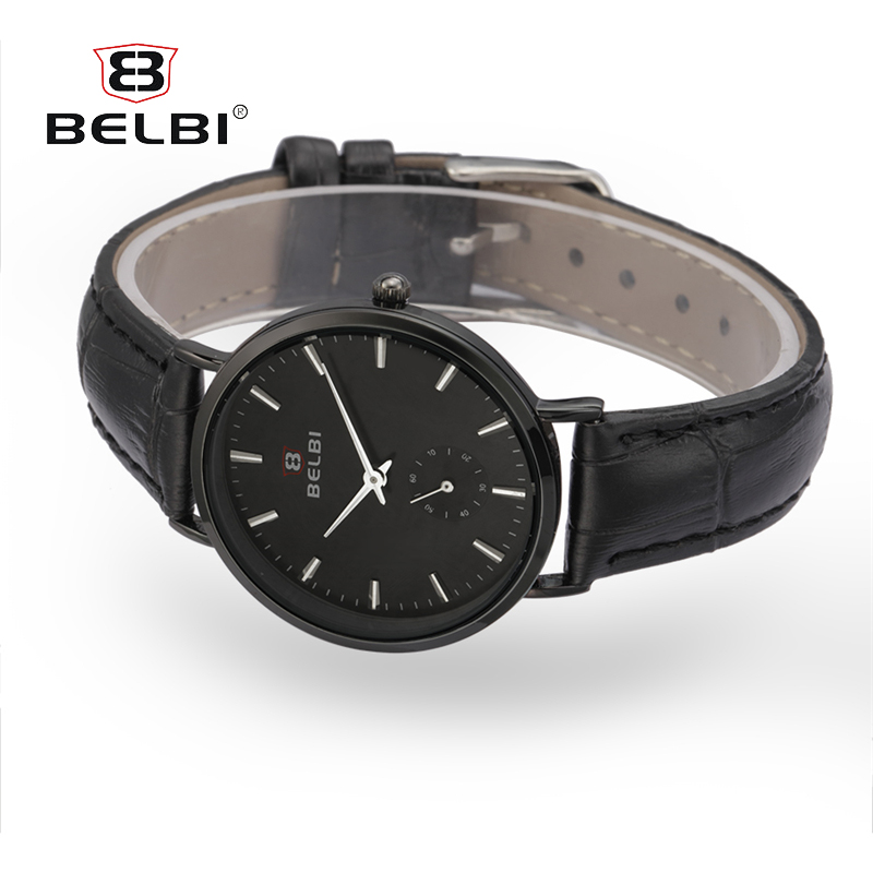BELBI Sliver Dial Watches Women Classic Leather Band Quartz Wrist Watch  Ladies Business Clock Simple Watches a80a9b0731c