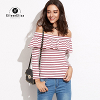 Sexy Slash Neck Women Tops 2017 Summer Ruffles Blouse Autumn Long Sleeved Red Striped Top