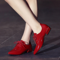 2017 Genuine Patent Leather Women Shoes Brogues Lace Up Flat Heels Pointed Toe Oxfords Women Casual