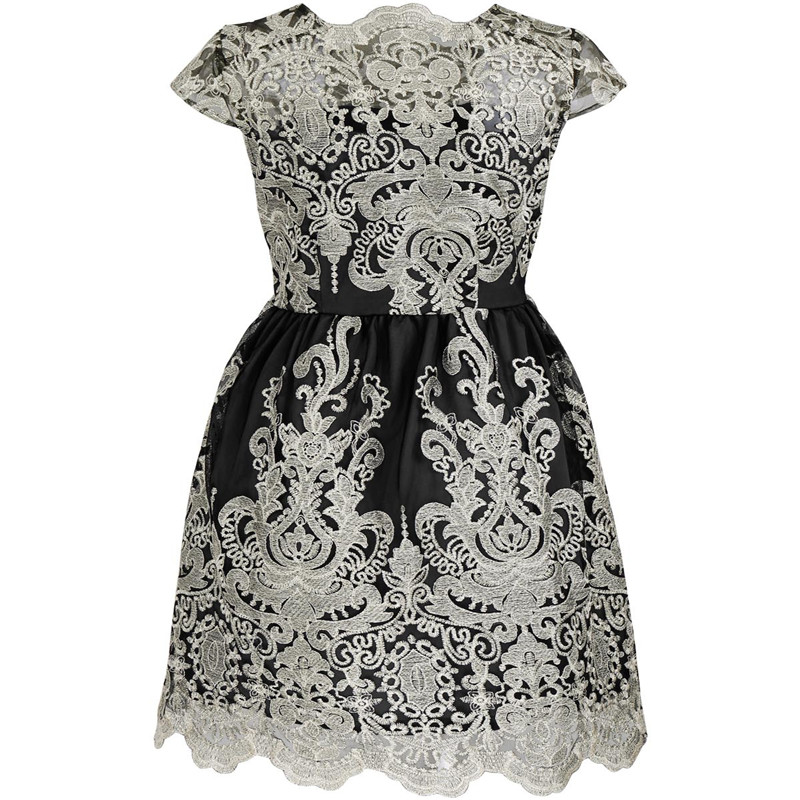 New solid color short sleeve Slim evening Europe and the United States station retro women's embroidery dress female 4