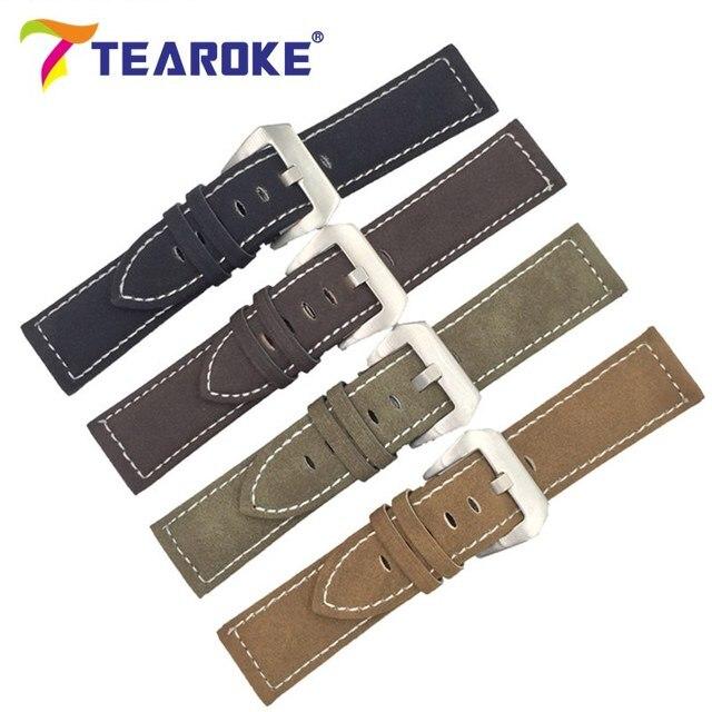 TEAROKE Handmade Matte Leather Watch Band Men Women 18mm 20mm 22mm 24mm Stainless Steel Buckle Strap for Panerai Watchband Brown