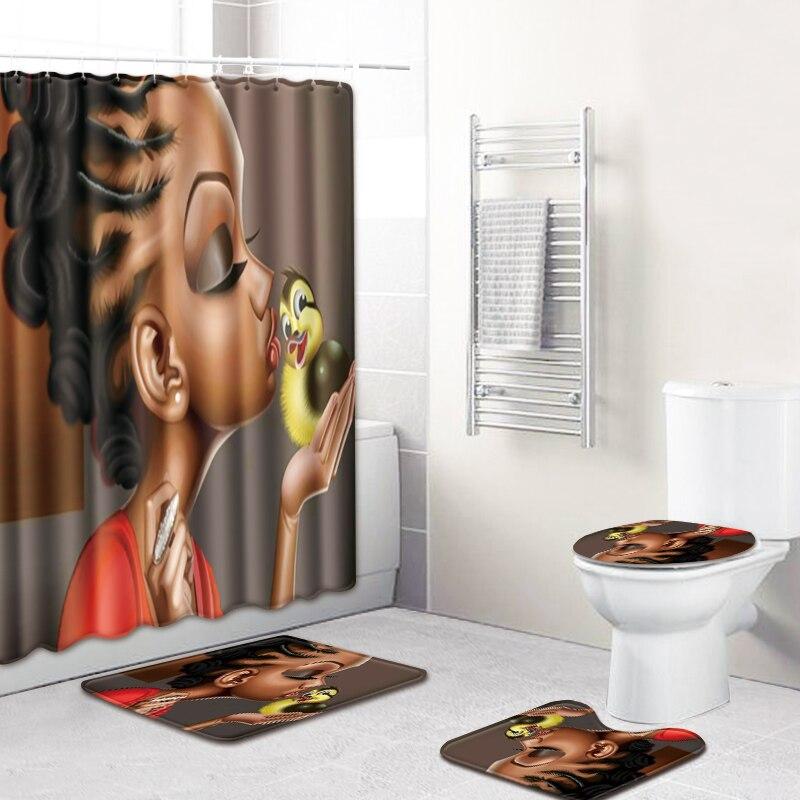 3D African Girls Shower Curtain Bath Mat Toilet Pad Set Non-slip Toilet Bathroom Decor Carpet Waterproof Shower Curtain Set