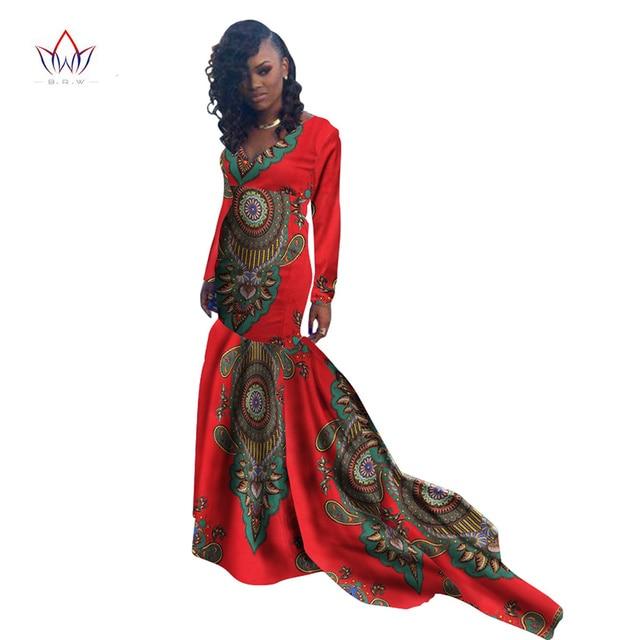 Mermaid African Dresses New Arrival Long Sleeve Floor Length Women