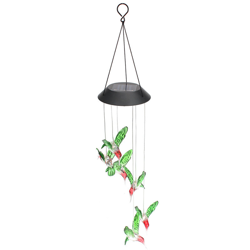 Humming Bird Solar Power LED Solar Light Lighted Yard Led Outdoor Light Garden Path Decoration Wind Chime Lamp White