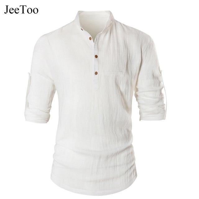 JeeToo Moda Casual Hombres Camisas de Manga Larga de Cuello Mao Camisas de  Los Hombres Slim 94b68ef8233