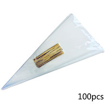 100pcs Transparent Cone Bags Clear Cello Gift Sweets Treat With Gold Silver Twist Ties Pouches Decoration 13*25cm