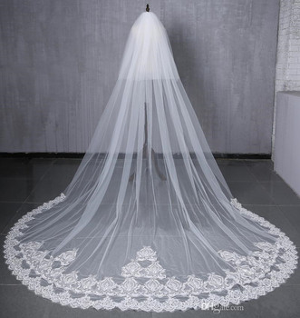 2019 Charming Bridal Veils White/Ivory 3 Meters Long Train Applique Edge Two Layers Wedding Veils with Combs Bridal Accessories