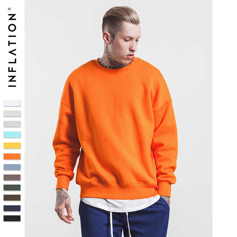 INFLATIE Winter Heren Hip Hop multi-color Hoodies Fluwelen Stoffen Fleece Sweatshirts 8 Effen Kleur Winter Mannen Sweatshirts 166W17
