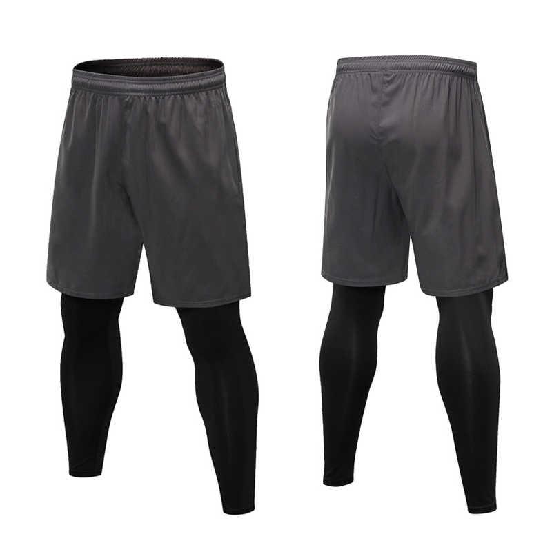 2019 gorąca sprzedaż męskie spodenki sportowe 2 w 1 do biegania szkolenia obcisłe spodnie dla trening siłownia jazdy 19ing