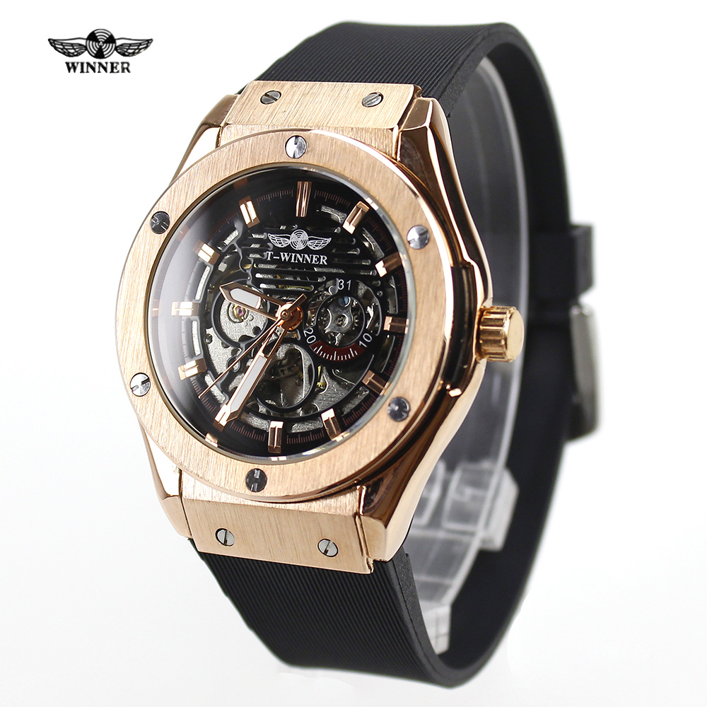 2017 t winner mens watches rose case top brand luxury. Black Bedroom Furniture Sets. Home Design Ideas