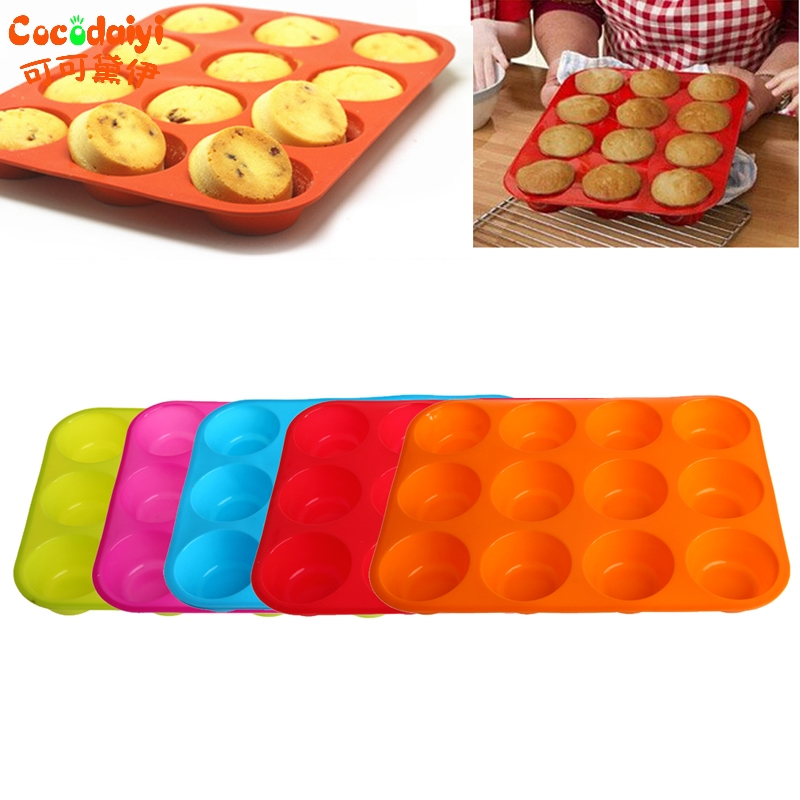 2017 Silicone Nonstick 12 Cups Muffin Pan Cupcake Tray Cake Baking Mold APR6_35