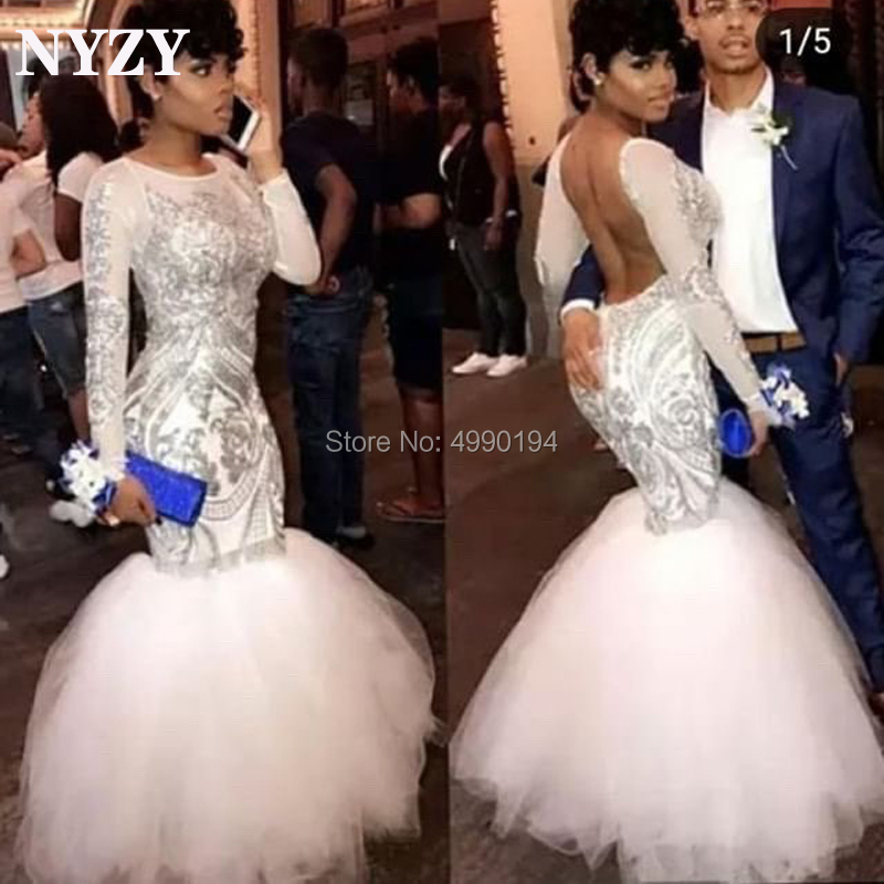 NYZY P64 Sexy Backless Two Tone Silver White Prom Dress 2019 Long Sleeve Evening Dress Party Graduation