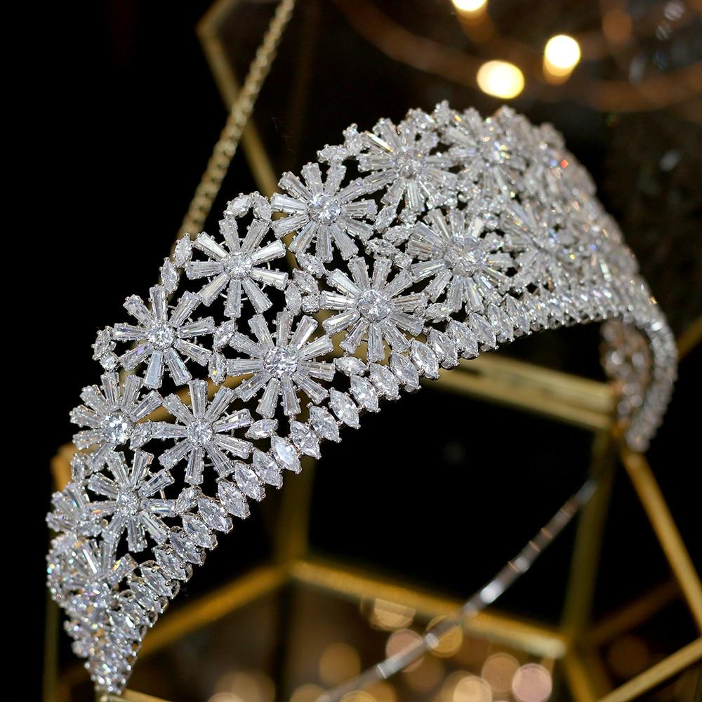 Alta calidad de oro/plata corona 3AAA CZ rhinestone princesa tiara boda cena accesorios para el cabello-in Joyería para el cabello from Joyería y accesorios    3