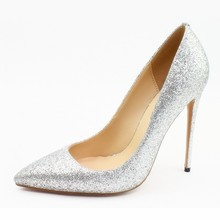 Brand Shoes New Microfiber Sequins Women Pumps Super Thin Heel Style Discount High Heels Sexy Pointed Toe Dresses Shoes C009B yanicuding brand peep toe high thin heel satin women slipper bow tie embellish women slides street style runway super star shoes