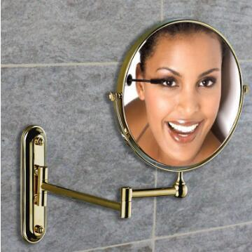 "Free shipping 8"" Double Side Bathroom Folding Mirror Wall Mounted Extend with Dual Arm 1x3x Magnifying dressing mirror"