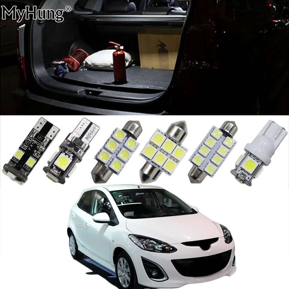 Interior Led Light For Mazda2 Mazda3 Mazda5 Mazda6 Atenza CX7 CX-7 Car Replacement Bulbs Dome Map Lamp Light Bright White 10PCS deechooll 2pcs wedge light for mazda 2 3 5 6 mx5 rx8 cx7 626 gf gg ge gw canbus t10 57smd 6w led clearance xenon lighting bulbs