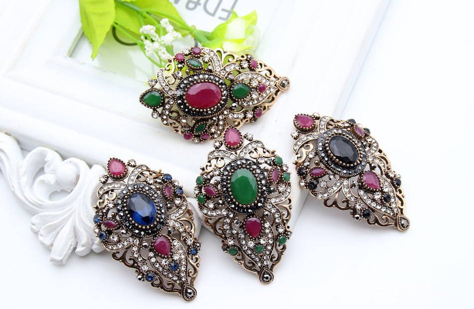 Turki Antik Wanita Bunga Bros Pins Warna Emas Antik Resin Broches - Perhiasan fashion - Foto 6