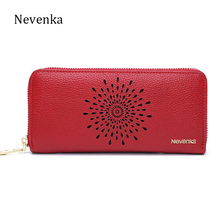 Nevenka Long Genuine Leather Famous Brand Wallet Card Holder Purse Girls Clutch Wallets Women Bag Female Small Hollow Out Purse