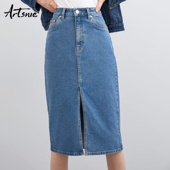 020a2b105 Artsnie alta cintura azul denim Falda de las mujeres Verano de 2019  streetwear casual split de la ...