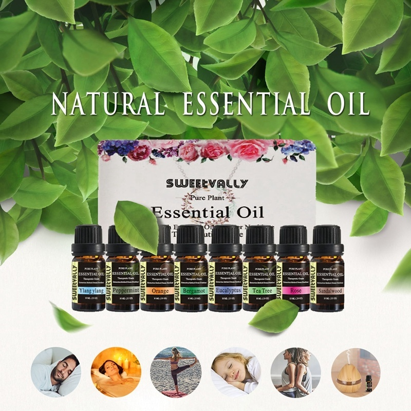 10ml 9 Flavors Essential Oils Set Aromatherapy Kit Therapeutic Grade Oils For Body Massage Relax Gifts Freshening Essential Oil
