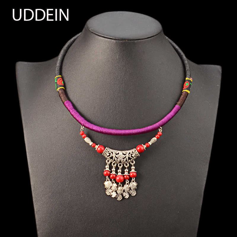 UDDEIN Bohemia Ethnic Necklace For Women Handmade Rope Chunky Chain Bib Beads Jewelry Statement Chokers Maxi Necklace & Pendant