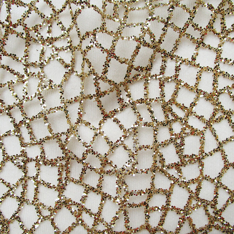 1pcs 4 yards gold color luxury sequin mesh tulle handprint glitter lace fabric for wedding evening