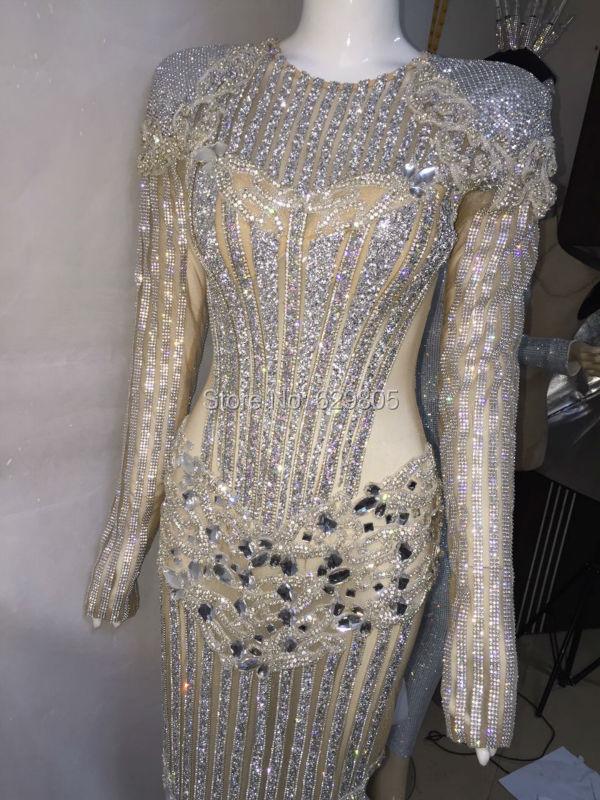 Fashion Luxury Design Long Dress Catwalk Performance Silver Costume Female Singer  Nightclub Birthday Crystals Celebrate Dresses