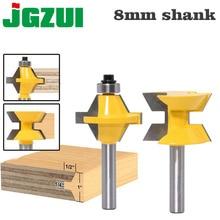 "2 pces 8mm ""shank conjunto de bits roteador 120 graus carpintaria groove cinzel ferramenta cortador"