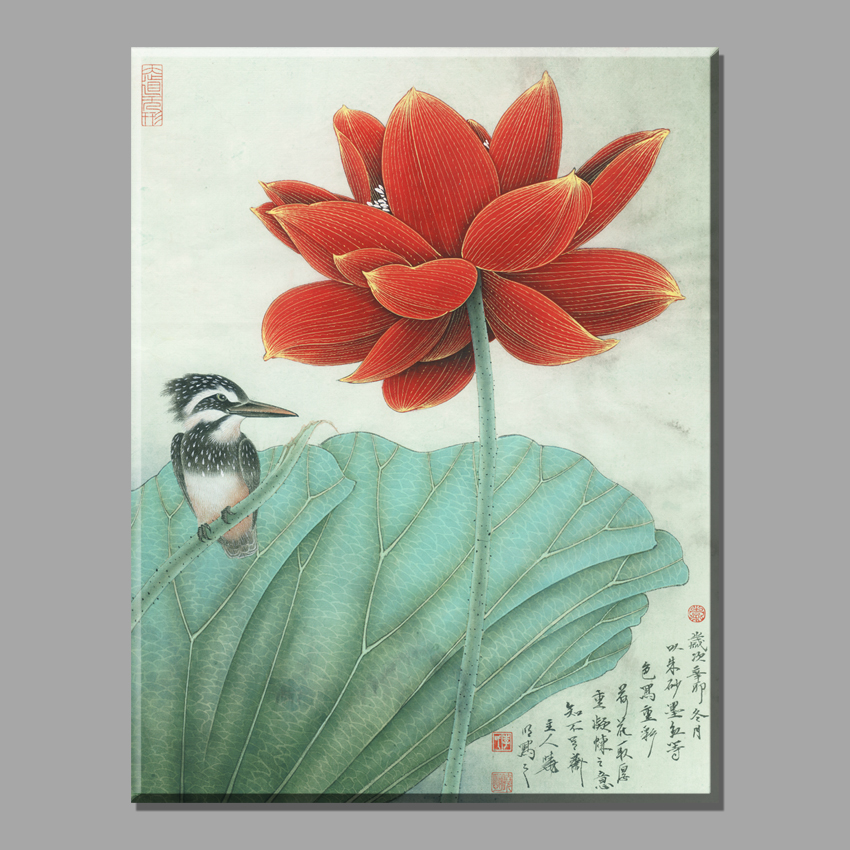 red lotus chinese paintings flowers pictures canvas art deco paintings on the wall decorative for living room vintage home decor wood