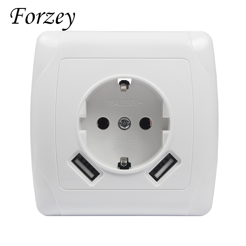 New 2019 USB Wall Socket Free shipping Double USB Port 5V 2A Usb pared prise electrique prise usb murale steckdose F01