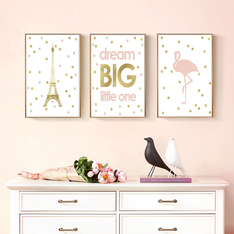 Letter Quote Art Poster Dream Big Little One Pink Gold <font><b>Paris</b></font> Canvas Painting Nursery Kids Baby Girl Room Decor Illustrations image