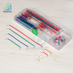 140Pcs/lot Solderless Breadboard Jumper Cable 22 AWG Solid Wires Kit with Box for Arduino