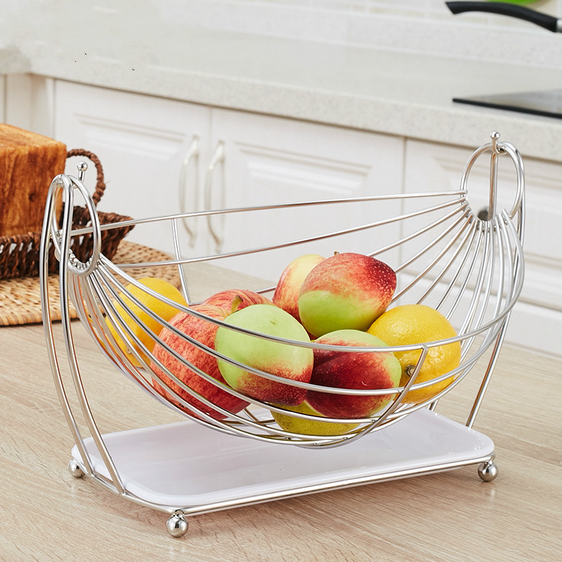 Home Fashion Creative Fruit Basket Stainless Steel Swing Plate Kitchen Decorative Storage Rack
