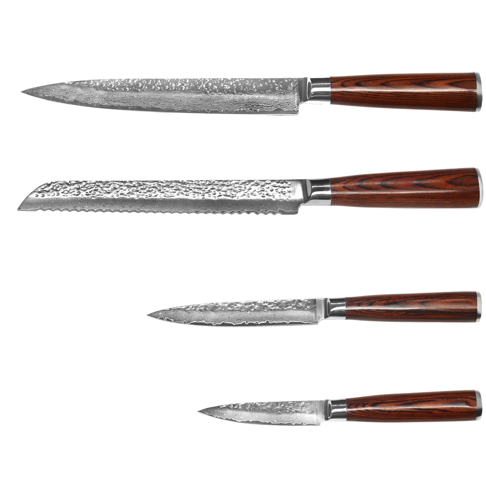 High End Damascus Knife Set 8 8 5 3 5 Bread Slicing Utility Paring Best Kitchen Knives Japanese