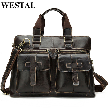 WESTAL Messenger Bag Men Genuine Leather Men's Shoulder Bags Business Briefcase Crossbody Bags Handbags Leather Laptop Bag Male
