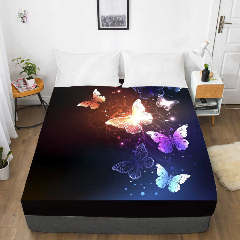 3D HD Digital Printing Custom Bed Sheet With Elastic,Fitted Sheet Twin King,Black butterfly Bedding Mattress Cover 150x200