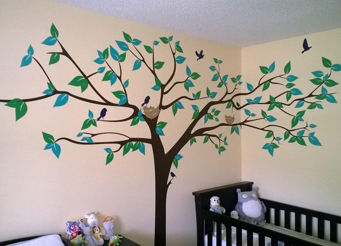 PopDecors-Super grand arbre White-133inch W-belle arbre stickers muraux pour les chambres d'enfants adolescentes filles garçons - 3