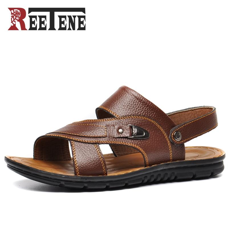 REETENE Plus size 37-48 New 2017 Summer Men Sandals Split Leather Fashion Vintage Flat Solid Beach Shoes For Men Breathable Shoe