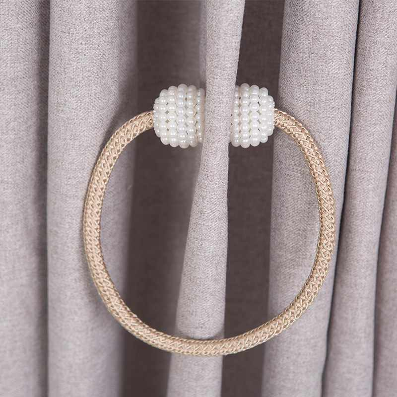 New silver Magnetic Pearl Ball Curtain Tiebacks Tie Backs Holdbacks Buckle Clips Accessory Curtain Tieback