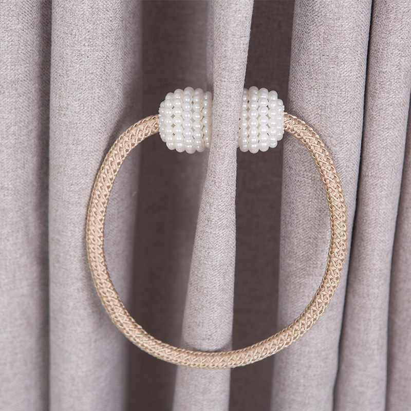 New silver Magnetic Pearl Ball Curtain Tiebacks Tie Backs Holdbacks Buckle Clips Accessory Curtain Tieback