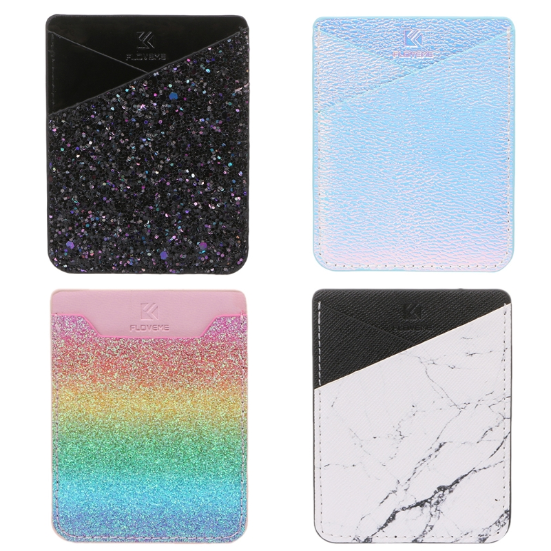 4 Colors High Quality Fashion Mobile Phone ID Card Holder Wallet Credit Pocket Adhesive Sticker in Card ID Holders from Luggage Bags
