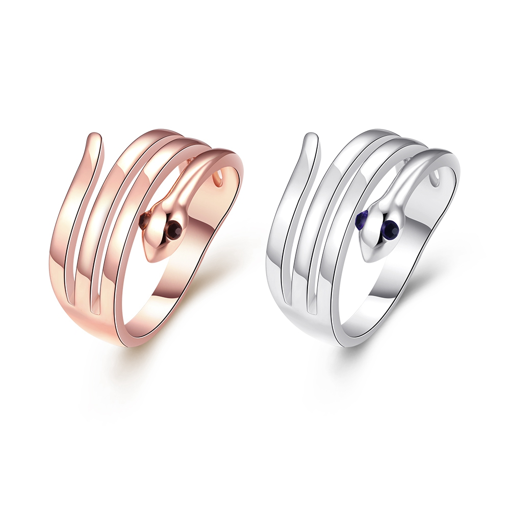 Fashion Czech Crystal Four Layers Snake Shape Rings Rose Gold Silver S Finger Ring Trendy European Women Ladies Punk Jewelry