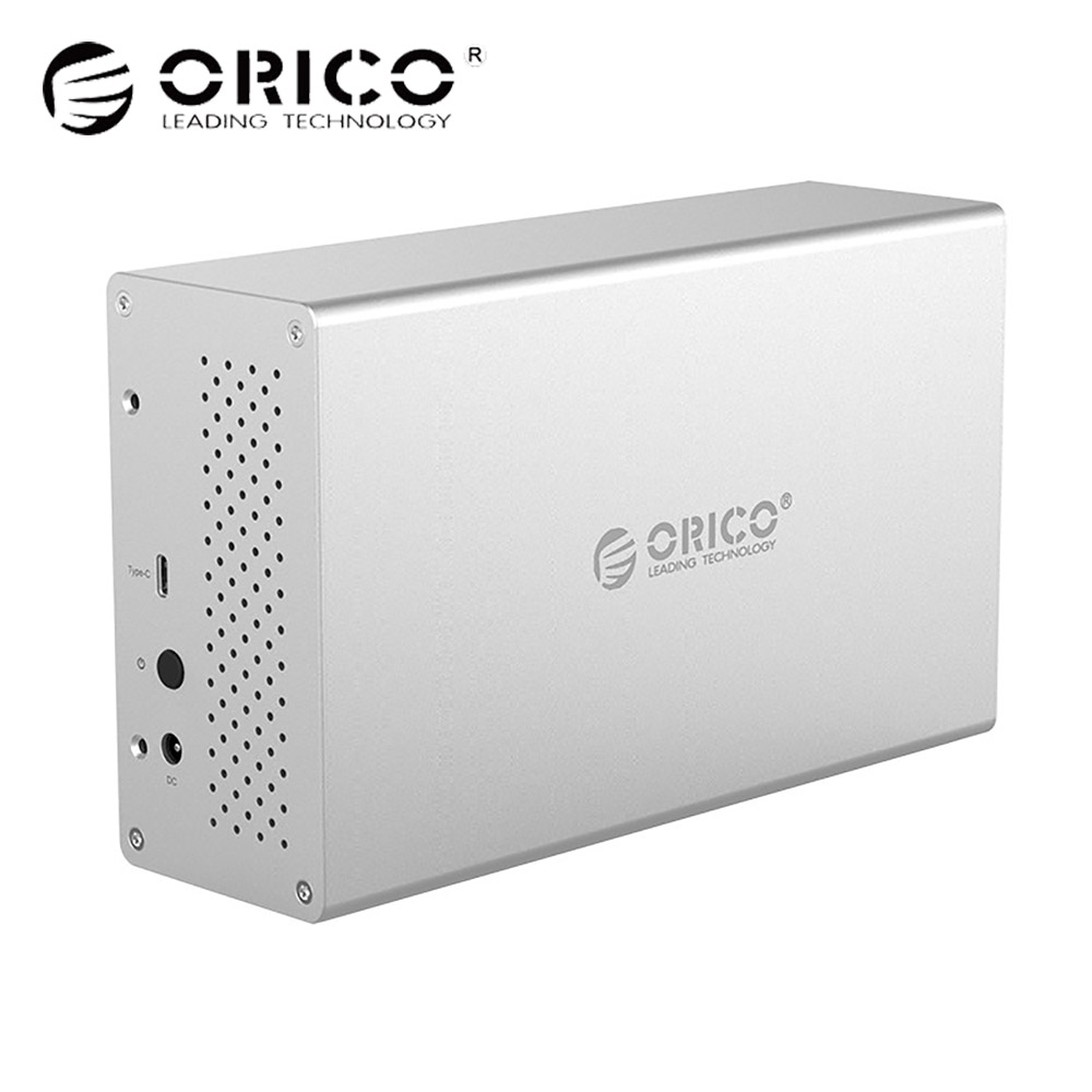 ORICO HDD Enclosure Dual Bay 3.5 inch SATA to Type-c 5Gbps Aluminum HDD Case External Hard Drive Adapter Box USB Docking Station all in one hdd docking station dual usb 3 0 2 5 3 5 inch sata external hdd box hard disk drive cloning enclosure card reader